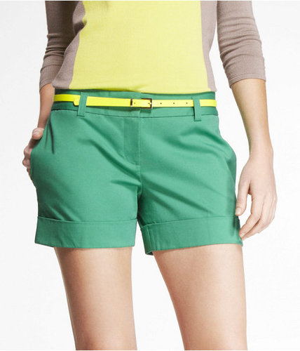 4 1/2 Inch Belted Cotton Sateen Shorts