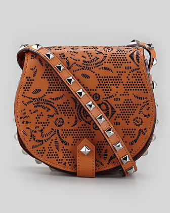 Rebecca Minkoff Skylar Laser Cut Studded Mini Messenger Bag, Almond