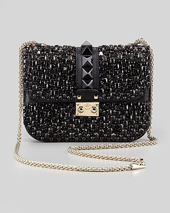 Valentino Glam Lock Small Crystal-Covered Crossbody Bag, Black