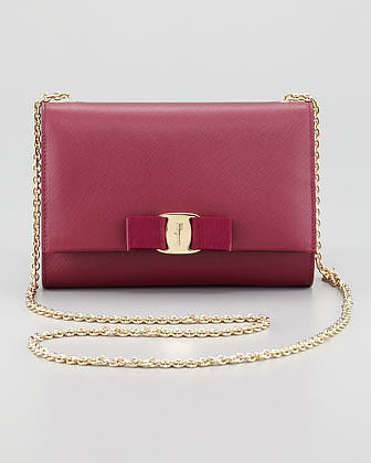 Salvatore Ferragamo Miss Vara Mini Flap-Top Crossbody Bag, Burgundy