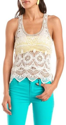 Dotted Mesh Back Crochet Tank