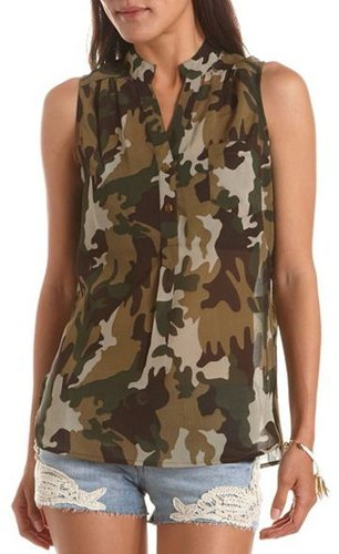 Camo Print Button-Down Tank