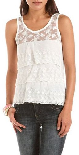 Embroidered Tiered Mesh Tank