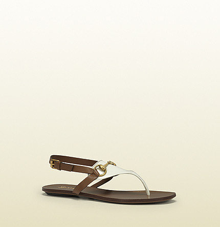 Alyssa White Patent Leather Flat Thong Sandal