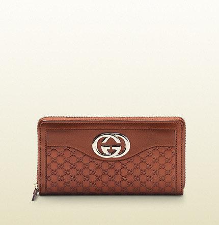Sukey Burnt Orange Metallic Microguccissima Leather Zip Around Wallet