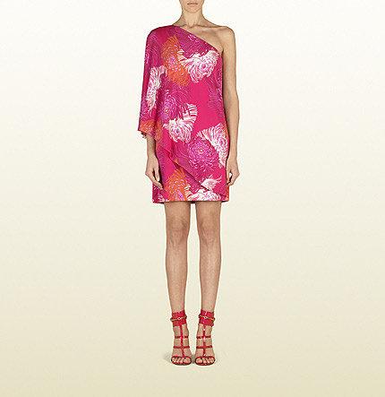 Shocking Pink Dahlia Print Asymmetrical Dress