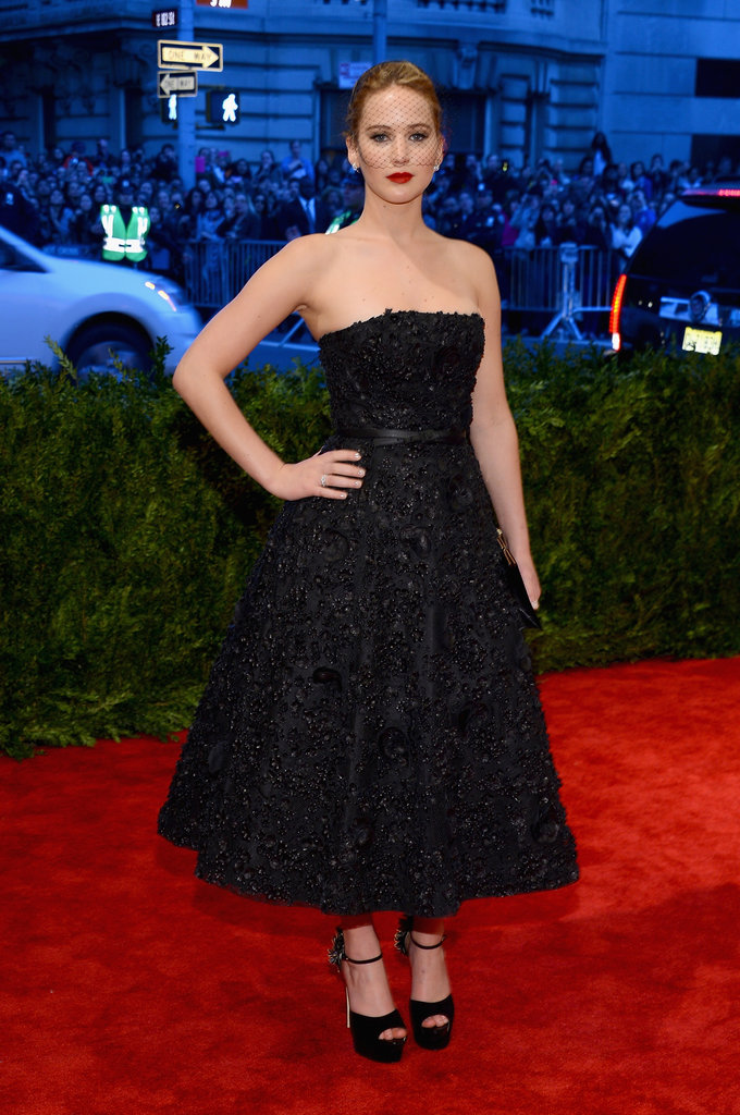 At this year's Met Gala, Jennifer Lawrence stuck to all black in a Christian Dior fit-and-flare gown and chunky platform sandals.