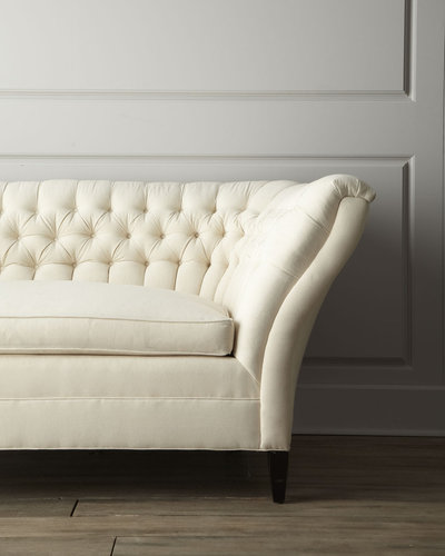 "Old Hickory Tannery ""Ellsworth"" Neutral Tufted-Curve Sofa"