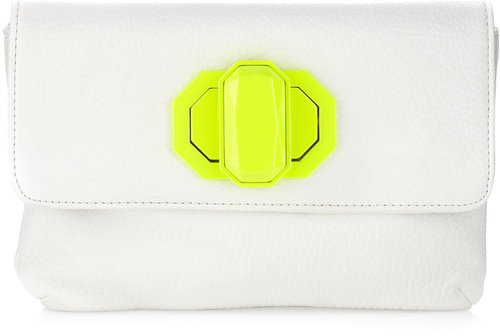 Deux Lux Neon Turn-Lock Clutch Bag, White/Yellow