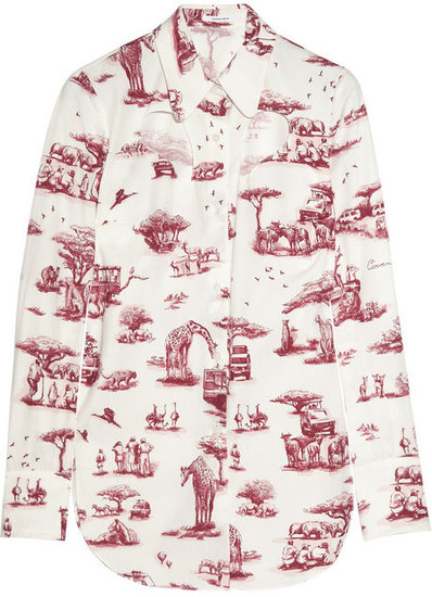 Carven Safari-print cutout cotton shirt