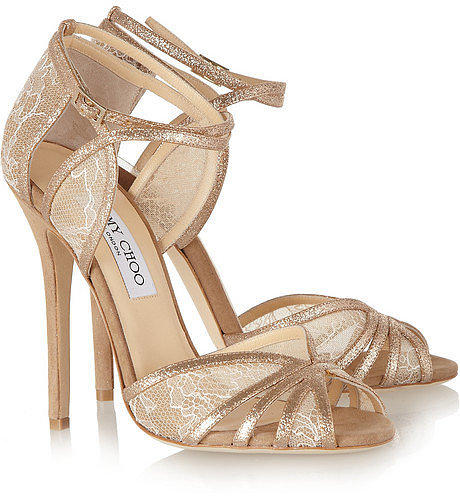 Jimmy Choo Fitch lace and glitter-finish suede sandals