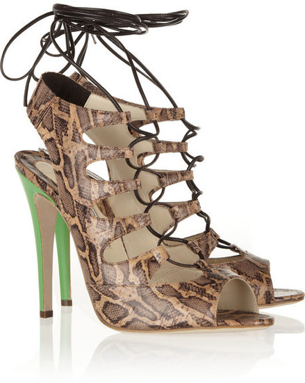 Brian Atwood Tie Me Up animal-print cork-effect sandals