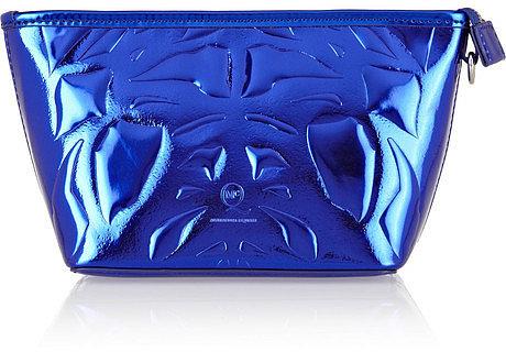 McQ Alexander McQueen Embossed metallic faux leather cosmetics case