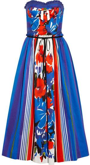 RED Valentino Printed cotton strapless dress