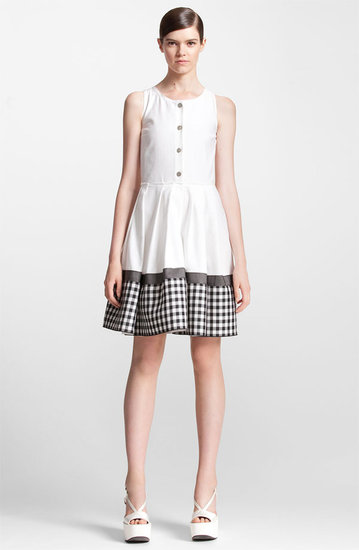 Jil Sander Navy Check Print Cotton Pique Shirtdress