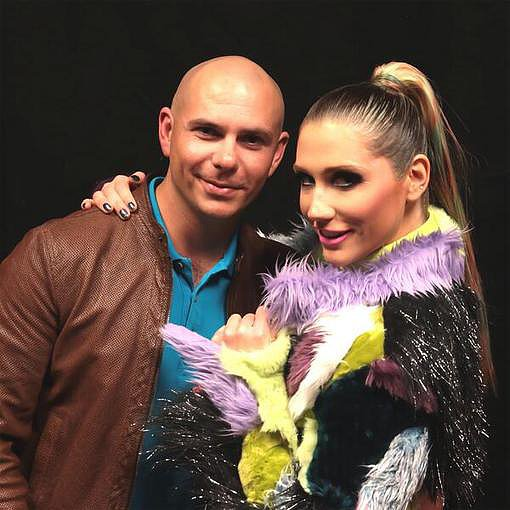 Pitbull and Ke$ha posed together before hitting the stage on their coheadlining tour. Source: Twitter user Pitbull