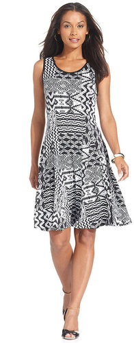 NY Collection Dress, Sleeveless Tribal-Print A-Line