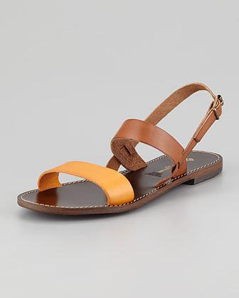 Jacques Levine Stella Flat Colorblock Sandal, Brown/Clementine