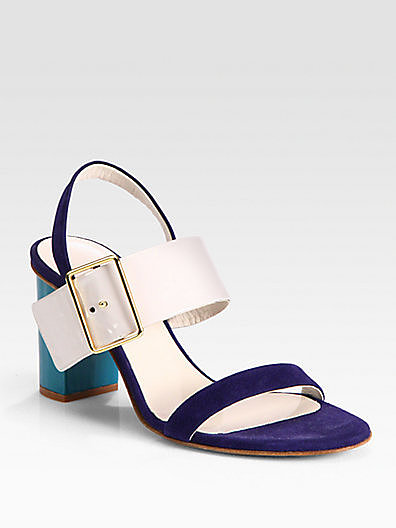 Jil Sander Colorblock Mixed Media Sandals
