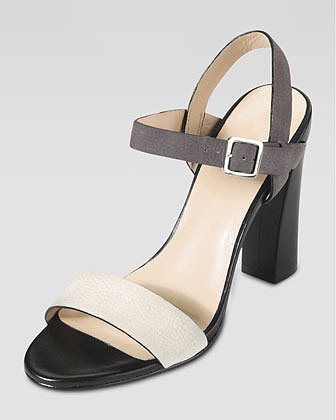 Cole Haan Minetta Chunky-Heel Sandal, Ivory/Gull Gray
