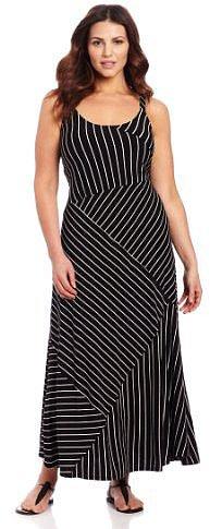 Vince Camuto Women's Plus-Size Bandage Stripe High Low Tank