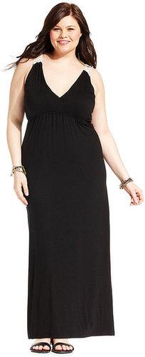 ING Plus Size Dress, Sleeveless Crochet-Trim Maxi