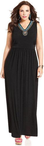 Elementz Plus Size Dress, Sleeveless Embellished Maxi