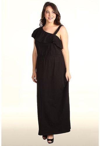 DKNYC - Plus Size One Shoulder Ruffle Maxi Dress (Black) - Apparel