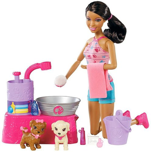 Barbie Suds and Hugs Pups African-American Doll Playset
