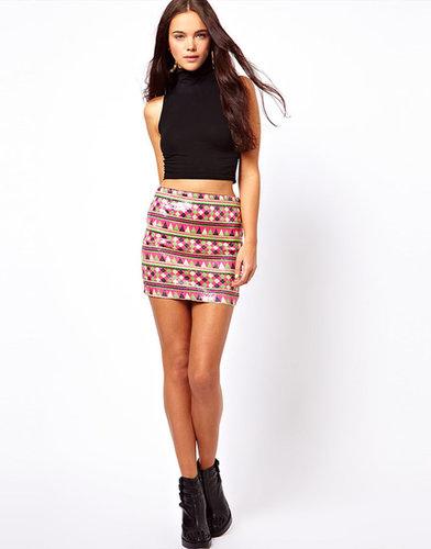 ASOS Mini Skirt In Aztec Festival Sequins