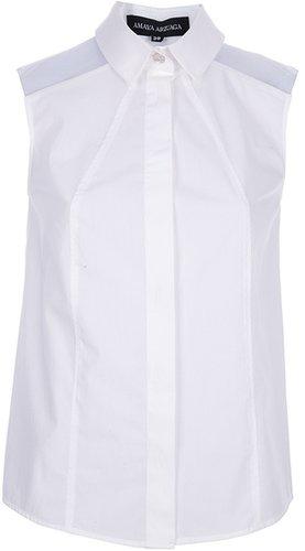 Amaya Arzuaga sleeveless translucent panel shirt