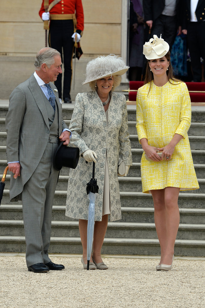 She joined Prince Charles and Camilla, Duchess of Cornwall, at Queen Elizabeth II's annual garden party on May 22, 2013, in London.