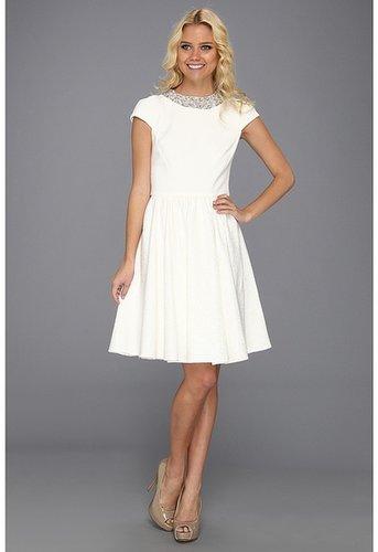 Badgley Mischka - Combo Beaded Cocktail Dress (White) - Apparel
