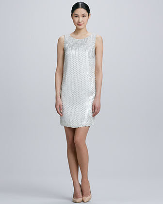 Theia Sleeveless Sequined Cocktail Dress