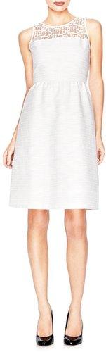 Lace-Yoke Textured Dress