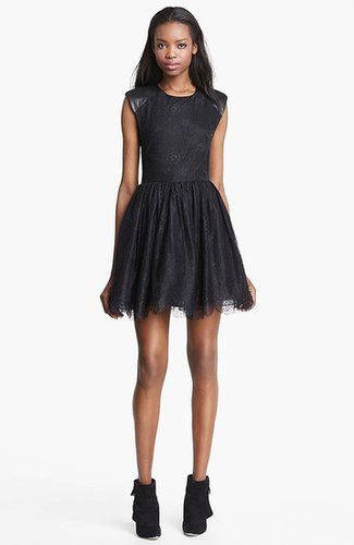 Alice + Olivia 'Nelly' Leather Detail Dress
