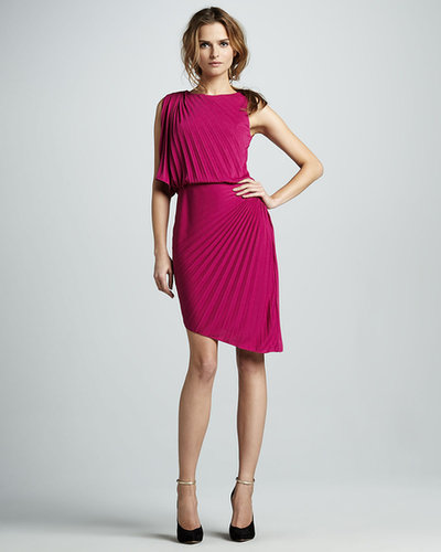 Halston Heritage Pleated Asymmetric Dress