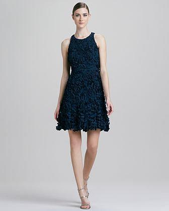 Theia Petal Sleeveless Cocktail Dress