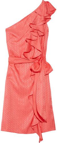 Milly One-shoulder silk-jacquard dress