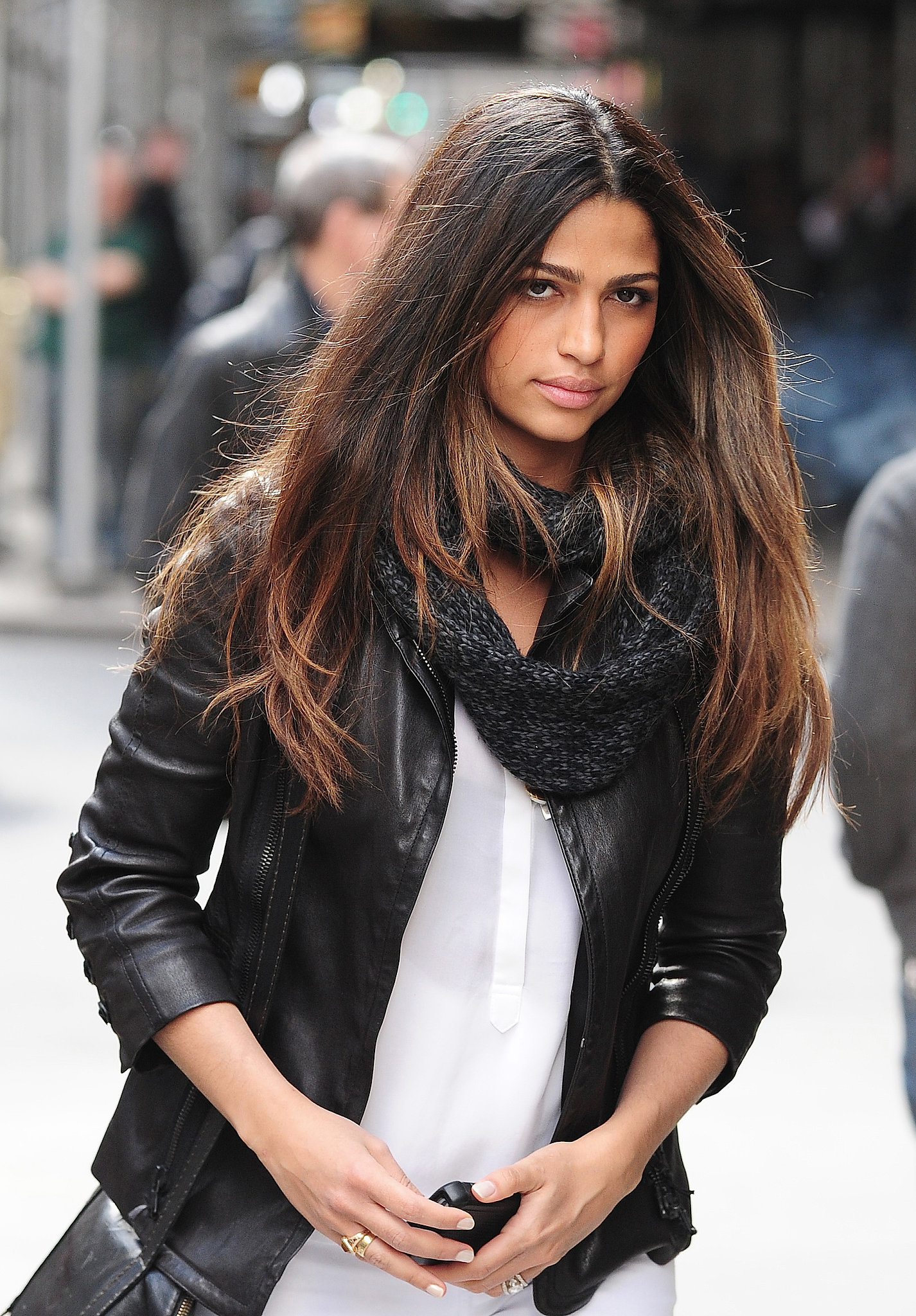 Nothing gives off a more casual vibe than your hair's natural texture. To achieve a look similar to Camila Alves's, allow your straight hair to air-dry and use a blow dryer to smooth.