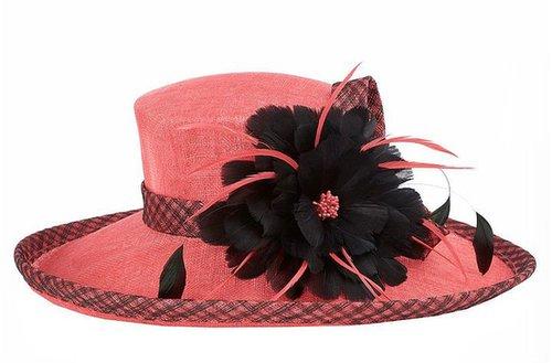 Jacques Vert Flamingo contrast feather hat