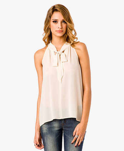 FOREVER 21 Cutout Tie Neck Top