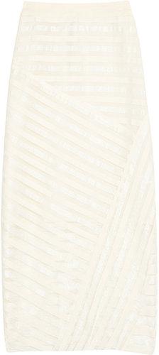 Rag & bone Islington striped mesh midi skirt