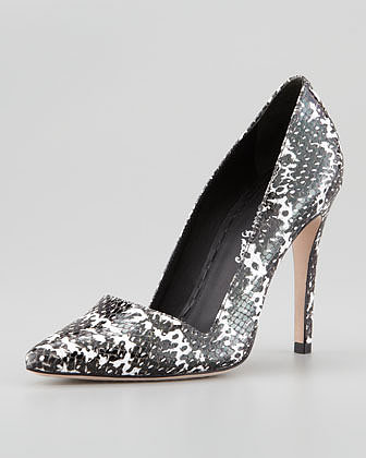 Alice + Olivia Dina Snake-Print Pointed Pump