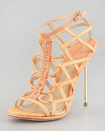 B Brian Atwood Mirante Studded Stretch Cage Sandal, Orange