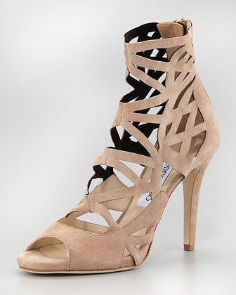 Jimmy Choo Verdict Suede Cage Sandal, Nude