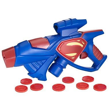 Your little hero-in-training can ward off evil with his Kryptonian Blaster ($19) — it lights up and comes with eight projectile discs.