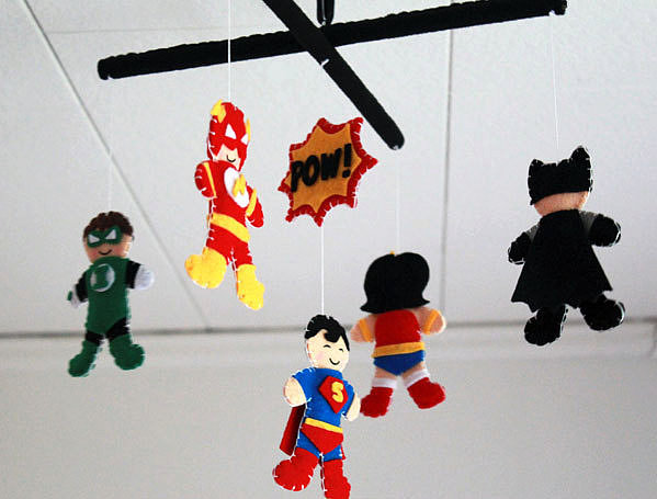 Give them sweet (and oh-so-powerful) dreams with a handmade felt Superhero crib mobile ($71) — you can even customize it by selecting your own characters.