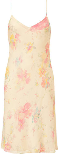Ralph Lauren Collection Vanilla Multi-Butterfly Floral Georgette Mara Slip Dress