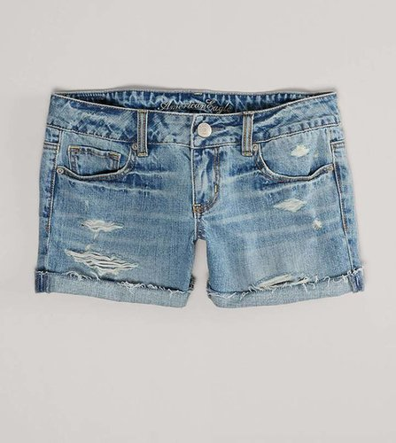 AE Destroyed Denim Midi Short